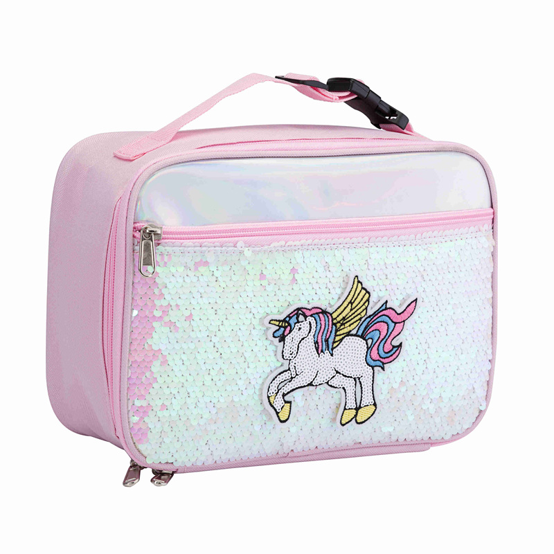 Heopono Fashion High Quality Ice Box Cooler Insulated Thermal Unicorn Design Rectangle Sequins Lunch Bag For Kids