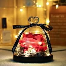 Preserved Rose In Flask LED Glass Dome Valentines