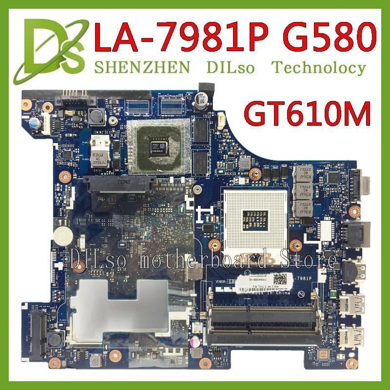 KEFU LA-7981P G580 материнская плата для Lenovo G580 QIWG5_G6_G9 LA-7981P REV: 1,0 GT610M материнская плата для ноутбука