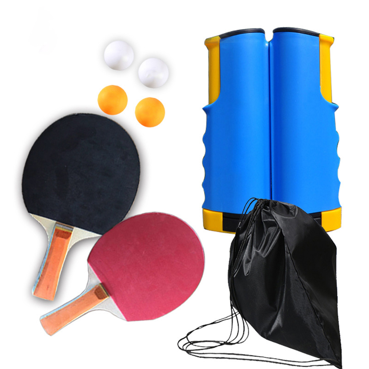 Table Tennis Blade Racket Ping Pong Rubber Paddle Portable Sport Table Tennis Set 1.7M Retractable Net For Workout Trainning
