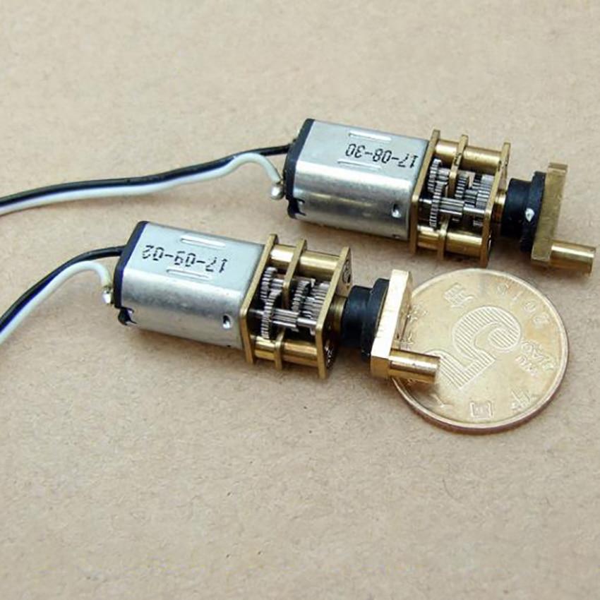 Potente motorreductor magnético N20 con brazo oscilante de cobre, todos los engranajes de acero precisión Bloqueo de huellas dactilares Motor DC3V-6V, 30 rpm-60 rpm