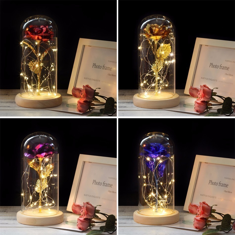 Festive Atmosphere Lighting Beauty And The Beast Rose In Glass Dome Christmas Decorations For Home LED Night Light New Year Gift