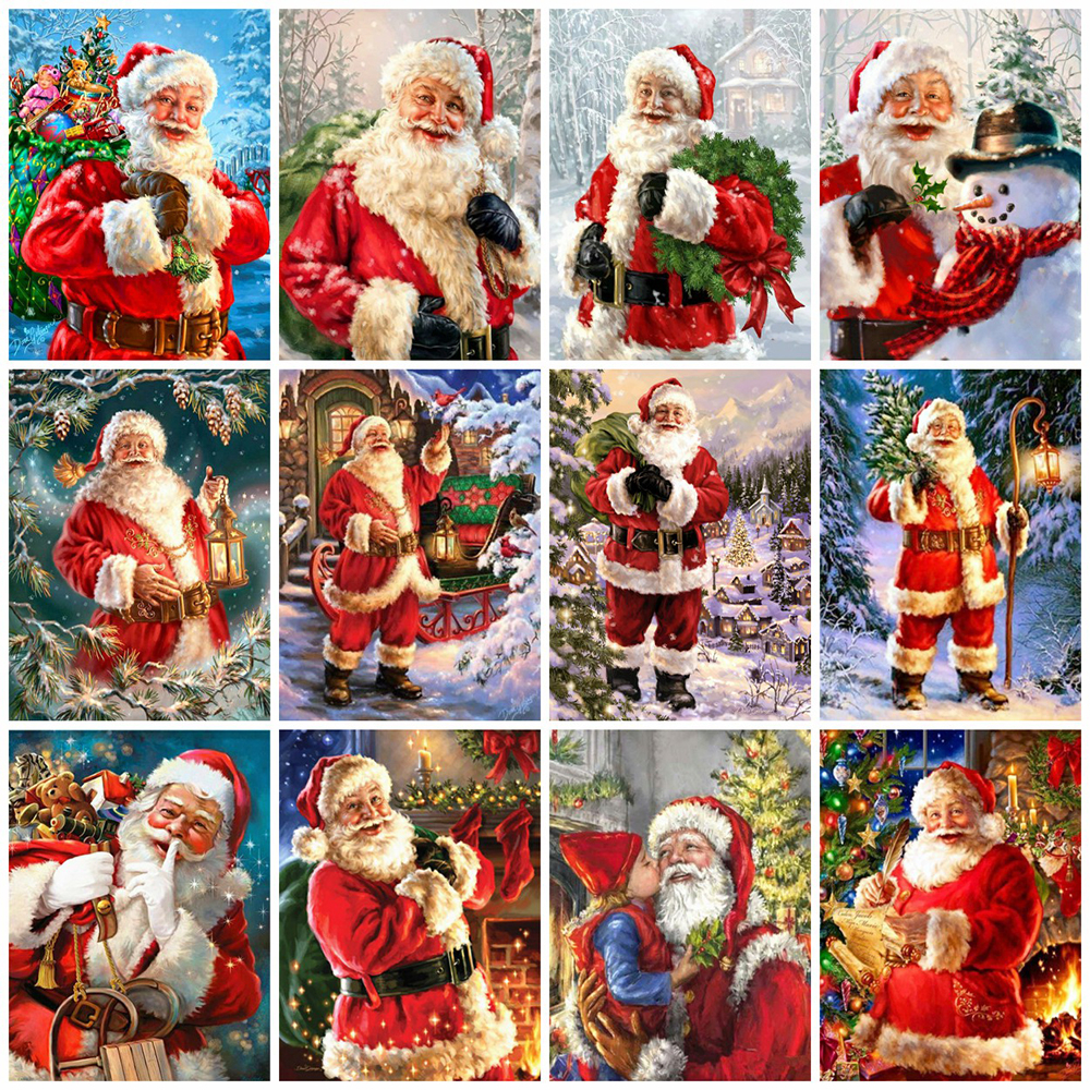 EverShine 5D DIY Christmas Diamond Painting Full Square Santa Claus Cross Stitch Rhinestones Art Bead Picture Kits Home Decor-0