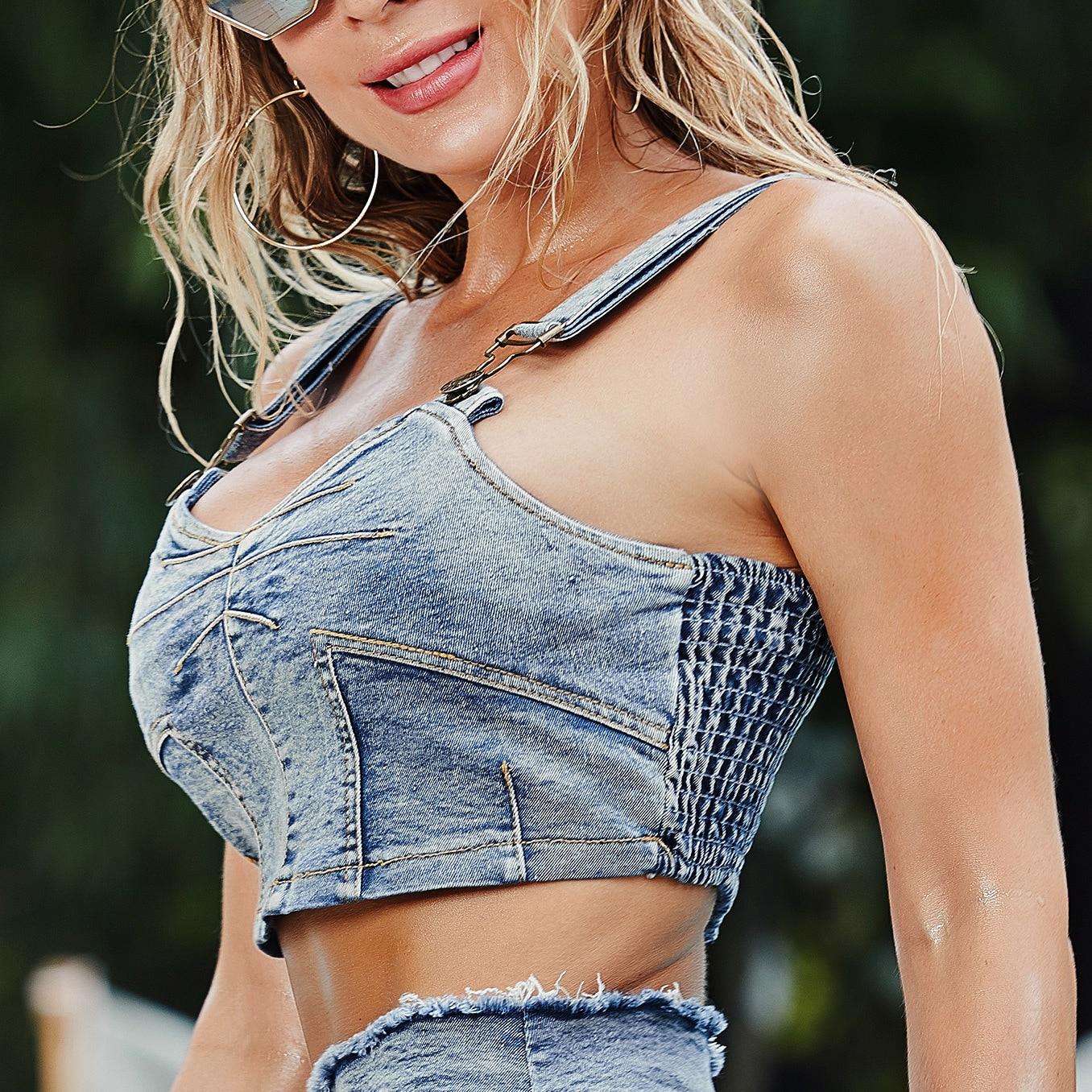 Новый сексуальный джинсовый жилет на подтяжках с открытой талией