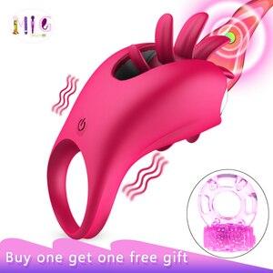 Image 1 - Kadın için seks oyuncakları titreşimli Penis halkası döner sihirli dil klitoral vibratör yüzük Penis seks oyuncakları titreşim yüzük çiftler