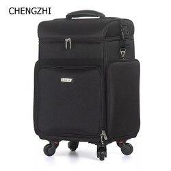 CHENGZHI Профессиональный Многофункциональный Большой Вместительный женский косметический чехол для макияжа багаж на колесиках косметически...