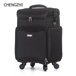 CHENGZHI المهنية متعددة الوظائف كبيرة قدرة المرأة ماكياج التجميل حالة المتداول الأمتعة الجمال الوشم حقيبة على عجلة