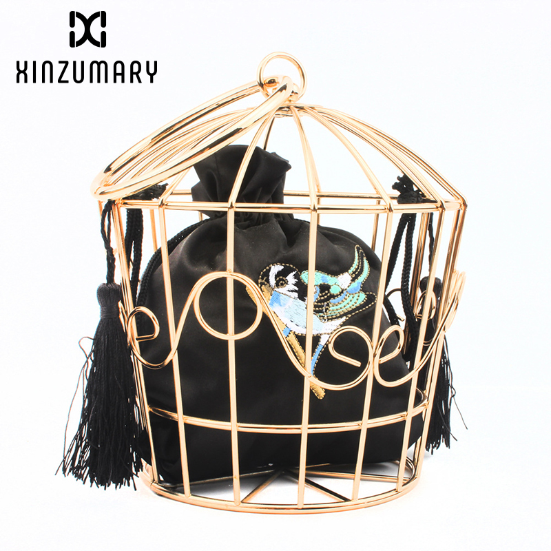 Tassel Handbag Purses Bucket Clutch-Bags Cage Birds Mini-Bag Embroidery Metal-Frame Gold