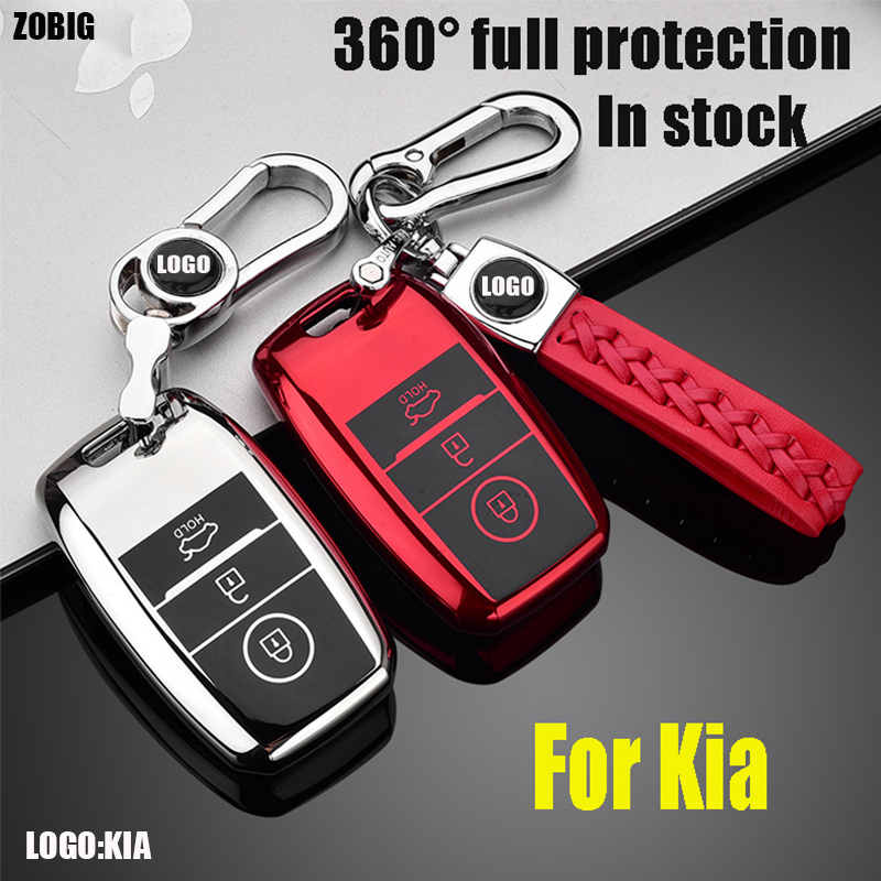 ZOBIG TPU Car Key Cover Case For Kia Rio 3 K2 Ceed Cerato K3 Sportage 4 Picanto K5 Optima Sorento Forte Stinger Key Ring