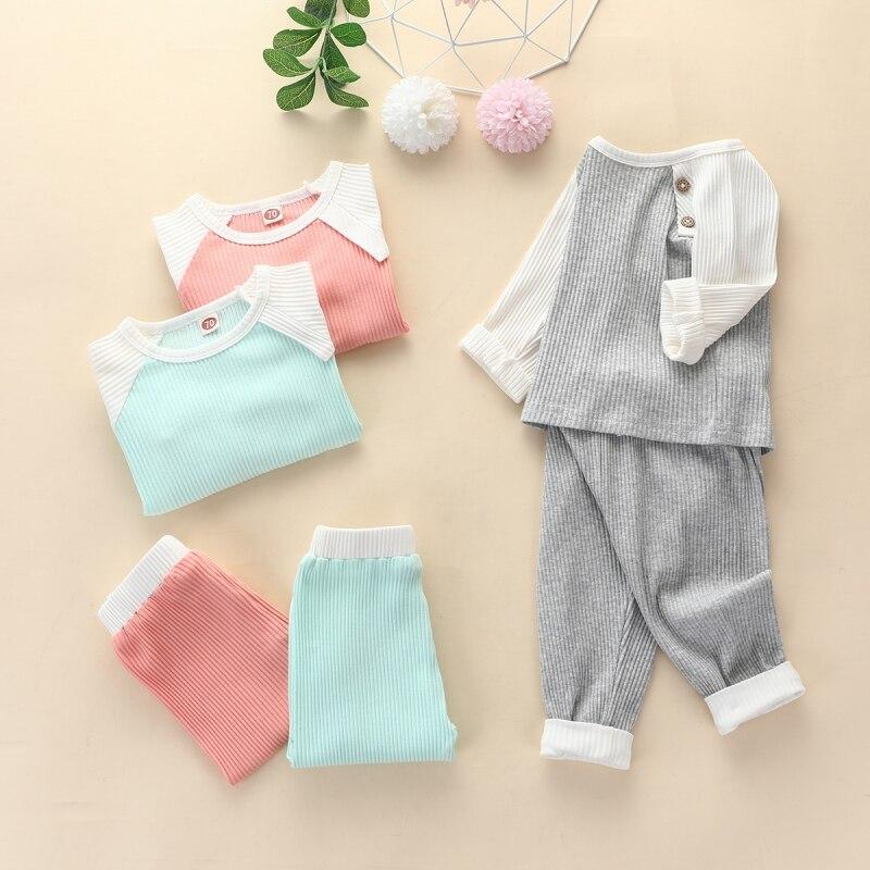 0-12M Baby Girls Clothes Set Autumn Winter Cotton Newborn Baby Boys Girls Clothes 2PCS Baby Pajamas Unisex Kids Underwear Sets