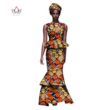 2020 New African Dresses For Women Dashiki Ladies Clothes Ankara O-Neck Africa Clothes Two Pieces Set Natural 6xl None WY1054