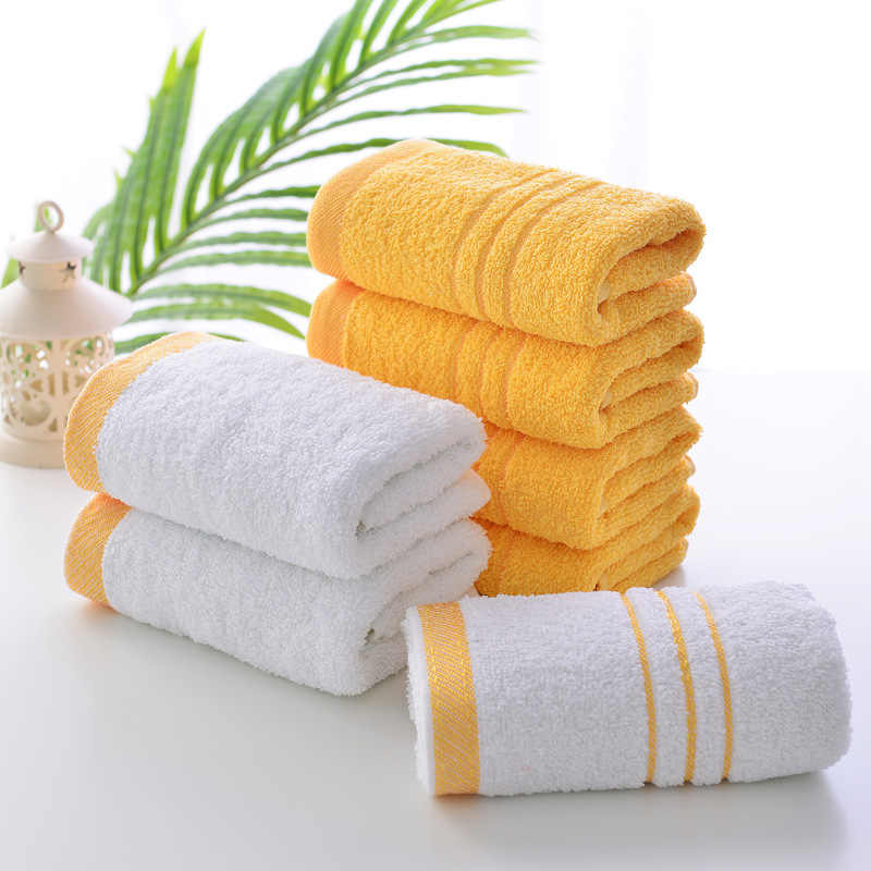 1Pcs Cotton Bath Face Towel Golden Embroidered Quick-Dry Towels for Home Hotel Bathroom