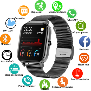 2020 New P8 Color Screen Smart Watch Women men Full Touch Fitness Tracker Blood Pressure Smart Clock Women Smartwatch for Xiaomi