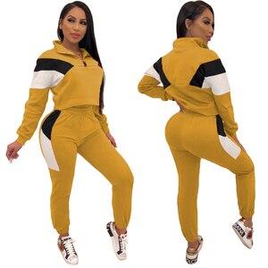 Image 3 - Conjuntos de duas peças fatos de treino 2020 primavera autum feminino zíper cor bloco curto moletom e lápis pant define sportwears sweatsuits