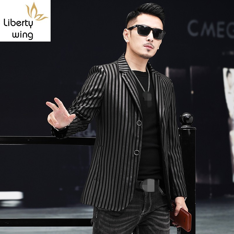 Blazer Suit-Jacket Short-Coat Business Long-Sleeve Black Real-Leather Striped Casual