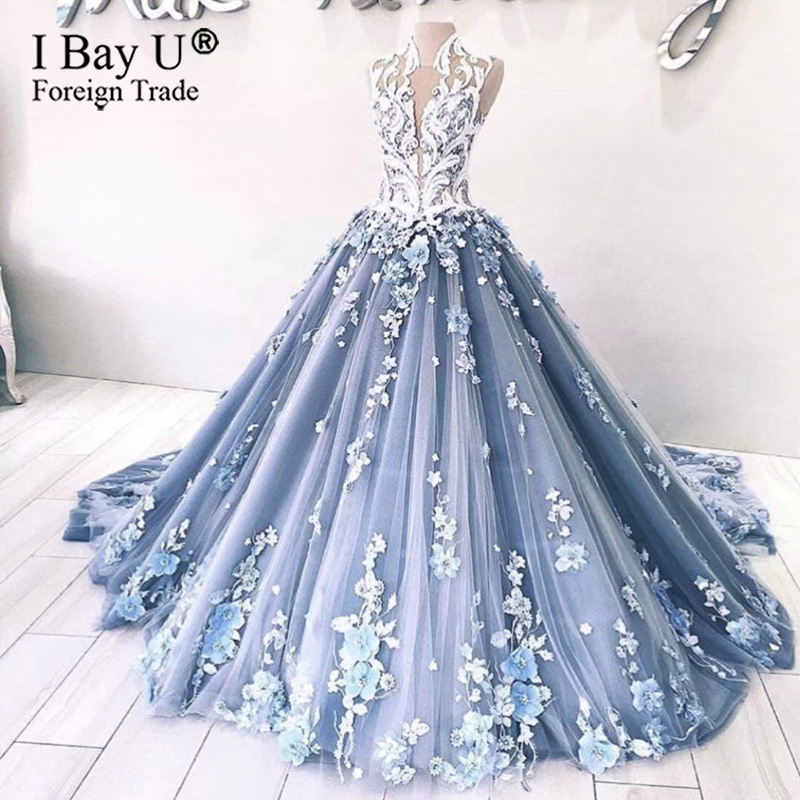 Luxury Blue Flower Dropped Waist Prom Dresses Elegant 3D Floral Appliques Evening Dress Dubai Arabic Formal Wear Robe De Soiree