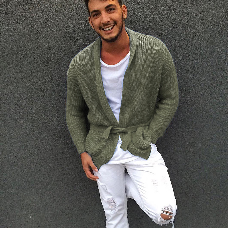 Solid Cardigan Sweater Men 2020 Autumn New Knitted Sweater Coat Casual Slim Fit Pull Homme Male Knitwear Sweaters XL