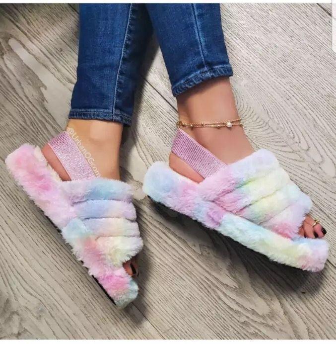 SunNY Everest 2020 House Shoes Fur Sandals Slippers Cute Plush Women Winter Warm Slipper 35-43