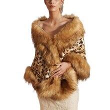 Leopard Faux Fur Coat Women 2019 Winter Casual Print Long Sleeve Warm Shawl Cloak Jacket X
