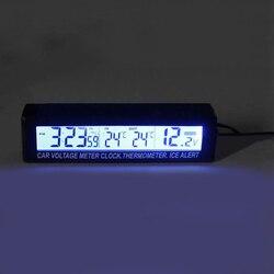 Samochód LED podświetlenie cyfrowy termometr zegar kryty temperatura zewnętrzna miernik napięcia z gniazda papierosów samochodowych gorąca sprzedaż