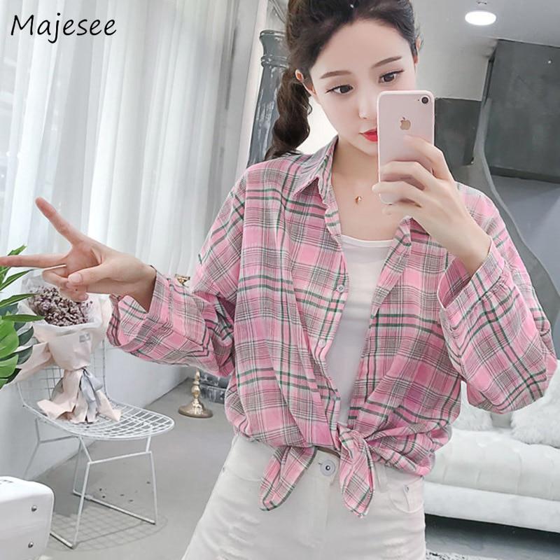 Shirts Women Plaid Mid-long Loose BF Classic Ulzzang Unisex Elegant Streetwear Womens Shirt Student Korean Style Simple Daily
