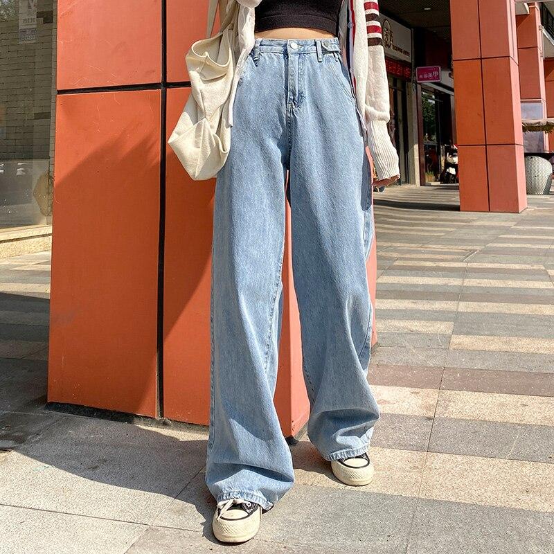 Femme jean taille haute vêtements jambe large Denim vêtements bleu Streetwear Vintage qualité 2020 mode Harajuku pantalon droit Nouveau Women Clothes Harajuku Baggy Fermeture Eclair Populaire Couleur Unie Regardez bien