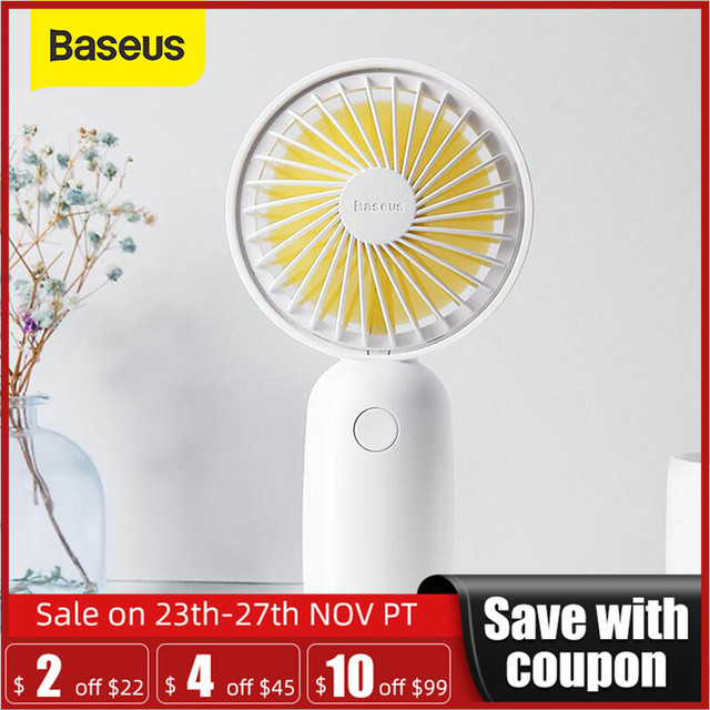 Baseus protableハンドヘルドファン 3 高速ミニusb充電式扇風機 1500mah powerbankバッテリー静音デスクトップパーソナル冷却ファン