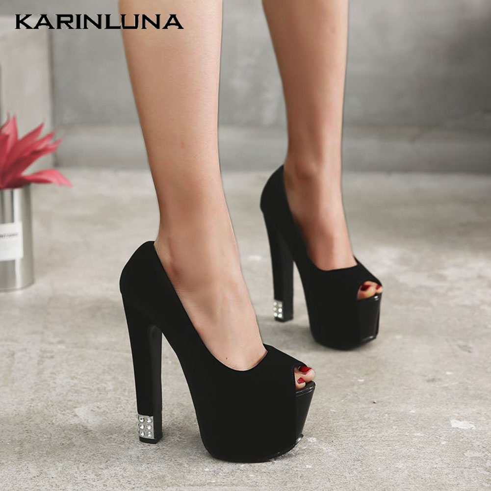 Karinluna New Dropship <font><b>Extreme</b></font> <font><b>High</b></font> <font><b>Heels</b></font> Women <font><b>Shoes</b></font> Woman <font><b>Sexy</b></font> Party Platform Peep Toe Slip On <font><b>Fetish</b></font> <font><b>Heel</b></font> Lady Pumps Female image