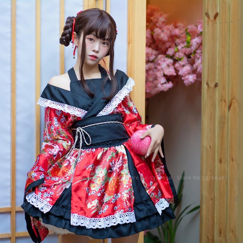 Traditional Japanese Lolita Anime Cosplay Costume Kimono Dress For Women Sakura Yukata Tutu Kawaii Girl Haori Party Stage Outfit