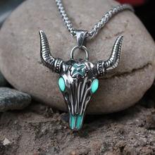 316l нержавеющая сталь быка ожерелье с подвеской в форме головы