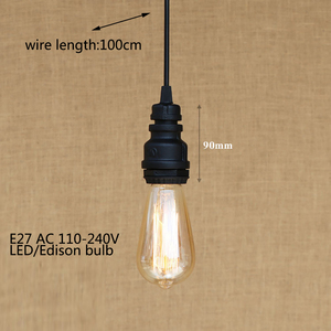 Image 5 - Loft industrial Iron water Pipe steam punk Vintage pendant lamp cord E27 led pendant lights for bedroom bar restaurant kitchen