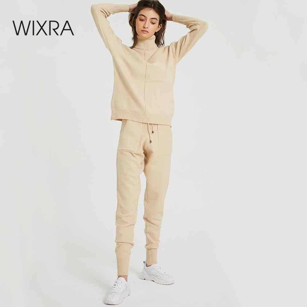 WIXRA Camisolas Das Mulheres 2018 Outono Inverno Feminino de Gola Alta Roupas Casuais Damas Soltas Jumpers Pullovers de Malha das Mulheres