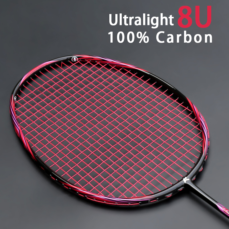Professional Super Light 8U 65-67G Carbon Fiber Badminton Racket With String Bags Raquette Strung Offensive Type Racquet Padel