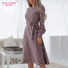 S.FLAVOR Women Vintage O Neck Dress Casual Polka Dot Print A-Line Party Vestidos Spring Winter Fashion Long Sleeve Mid Dress