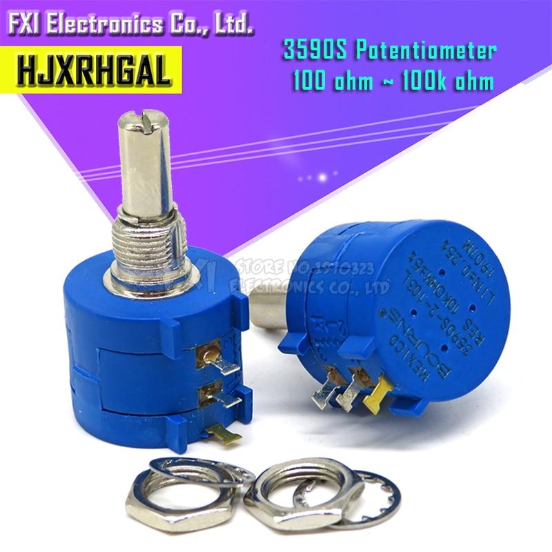 1PCS 3590S Series Resistance 1K 2K 5K 10K 20K 50K 100K Ohm Potentiometer Adjustable Resistor 3590 102 202 502 103 3590S-2