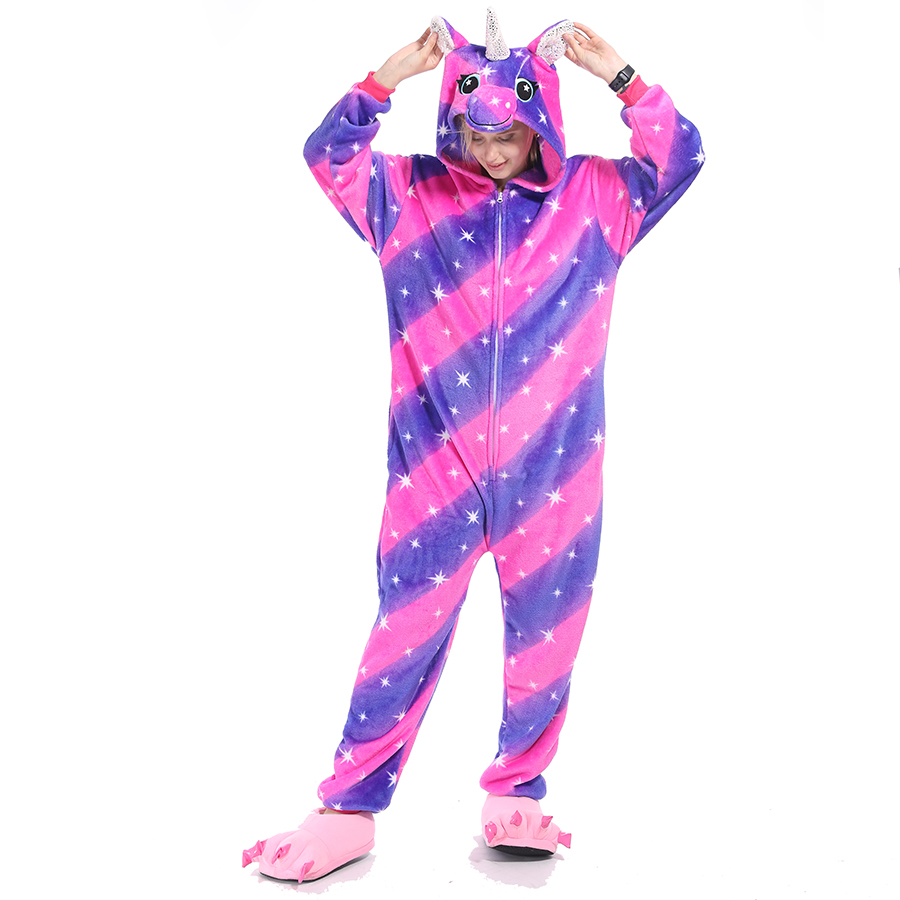 Image 2 - Women Pajamas Pyjamas Adults Flannel Sleepwear Homewear Kigurumi Unicorn Stitch Panda Tiger Cartoon Animal Pajama Sets PijamasPajama Sets   -