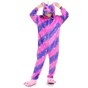 Image 2 - 女性パジャマパジャマ大人フランネルパジャマホームウェア着ぐるみユニコーンステッチパンダ漫画の動物パジャマセット pijamas