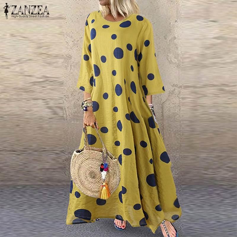 ZANZEA Autumn 3/4 Sleeve Polka Dot Printed Long Dress Vintage Women's Cotton Linen Dresses Female Kaftan Vestido Femme Sundress