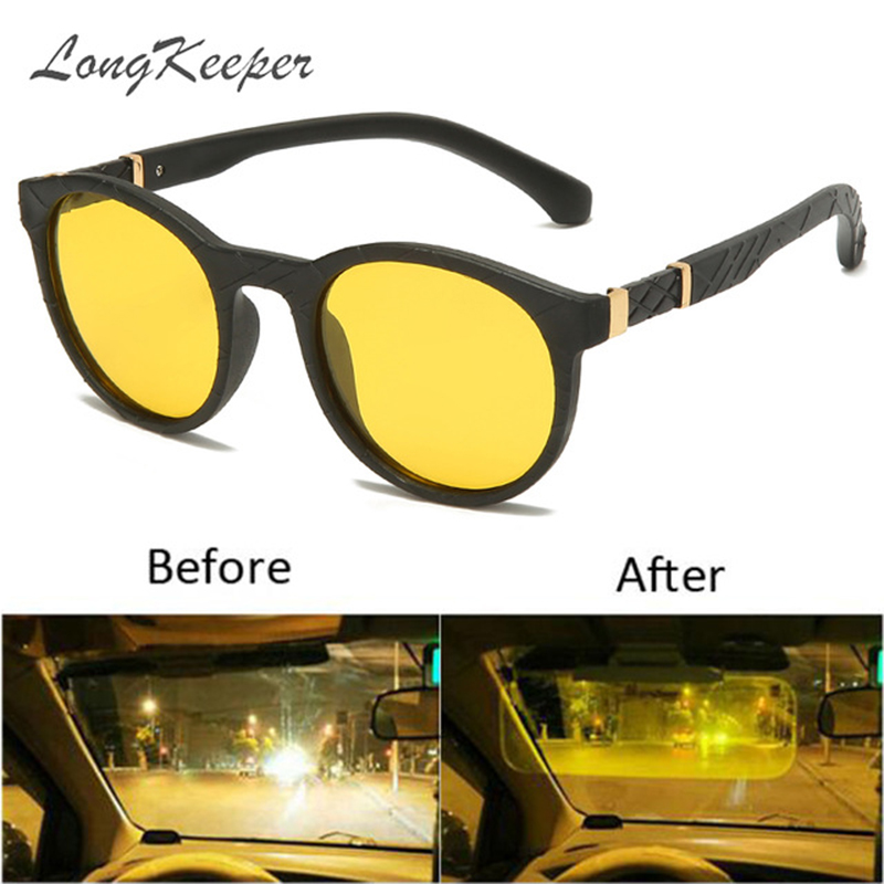 LongKeeper Polarized Yellow Lens Sunglasses Men Women Round TR90 Flexible Night Vision Sun Glasses Anti-glare Oculos Masculino