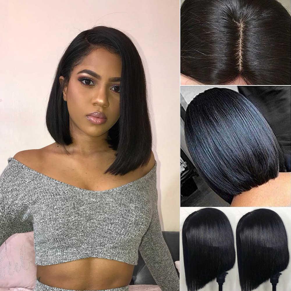QT krótka, koronkowa peruka z ludzkimi włosami Bob peruka z wstępnie oskubane włoskowate 13x 4/ 4x4 zamknięcie koronki peruka brazylijskie peruki z prostymi włosami