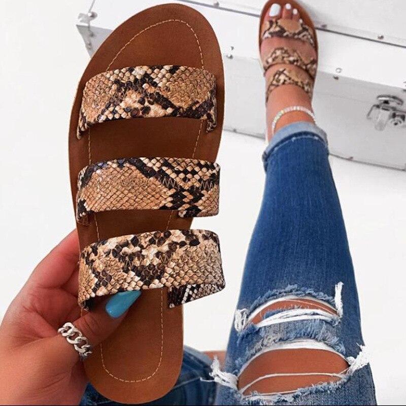 Ariari/Коллекция 2020 года; женская модная пляжная обувь; трехслойные Нескользящие уличные тапочки с Тотем Змеи; женские шлепанцы на плоской подошве|Боссоножки и сандалии|   | АлиЭкспресс