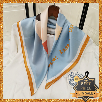 2020 New Print Women Scarf 70cm Square Turban Twill Silk Ladies Kerchief Luxury Design Autumn Hijab Fashion Shawl Wrap Headband