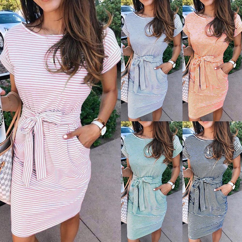 Casual Stripe Women Tshirt Dress Elegant O Neck Short Sleeve Sashes Pocket Black Pink Sundress Cotton Summer Midi Dress Vestidos(China)