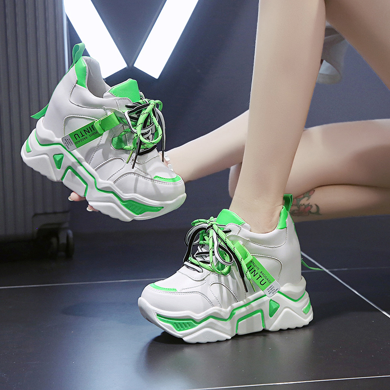 Korean Casual Ladies Mesh Breathable High Hidden Wedge Thick Sole Sports Shoes