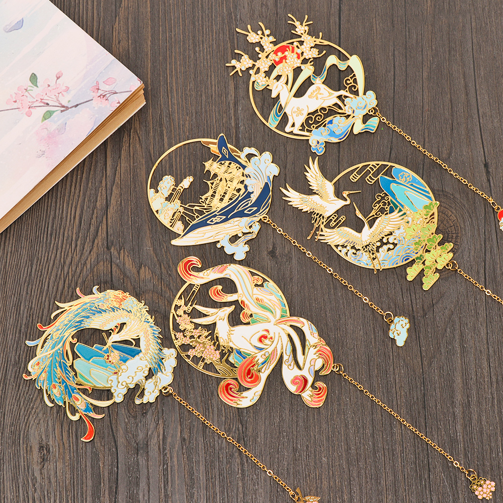 Chinese Style Brass Bookmark Tassel Pendant Retro Book Clip Metal Pagination Mark Student Gift Stationery School Office Supplies