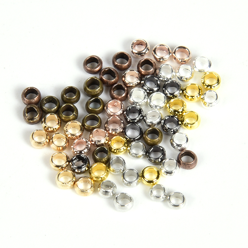 500Pcs/Lot Ball Crimp End Beads Stopper Spacer Beads For DIY Jewelry Making Findings Supplies