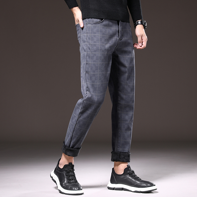 SHAN BAO Winter Warm Plus Velvet Thick Casual Pants 2020 Brand Clothing Trend Rivet Men's Fitted Fashion Plaid Pants Wine red