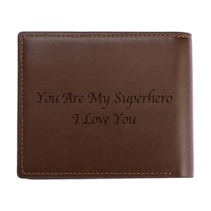 Image 3 - Engraving Picture Wallet DIY Customized Image Carving Text Mens  Short Slim Three Fold Leather Fathers Day Zipper Coin Purse