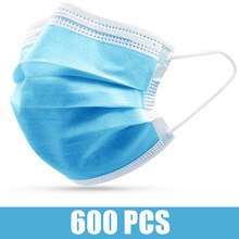600/500/400/300/200/100/10 Pcs Disposable Non-woven Fabric Face Masks Anti-pollution Facial Mask 3 Layers Filter Face Mouth Mask