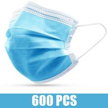 600 500 400 300 200 100 Pcs jednorazowe włókniny maski na twarz przeciw zanieczyszczeniom maska na twarz 3 warstwy filtr maska do pielęgnacji twarzy i ust tanie tanio Chin kontynentalnych NONE Blue Face Masks 100 200 300 400 500 600 pcs Masks